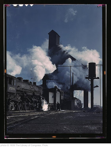 'Locomotives over the ash pit at the roundhouse and coaling station at the Chicago and Northwestern Railroad yards, Chicago, Ill. (LOC)' photo (c) 1939, The Library of Congress - license: http://www.flickr.com/commons/usage/