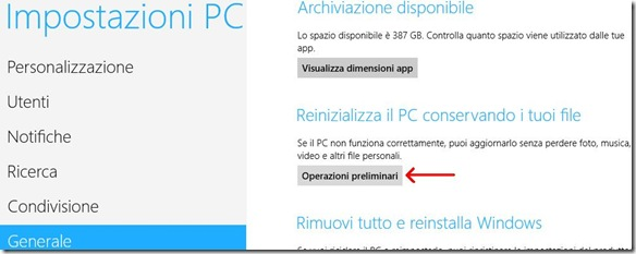 Windows 8 Reinizializza il PC conservando i tuoi file