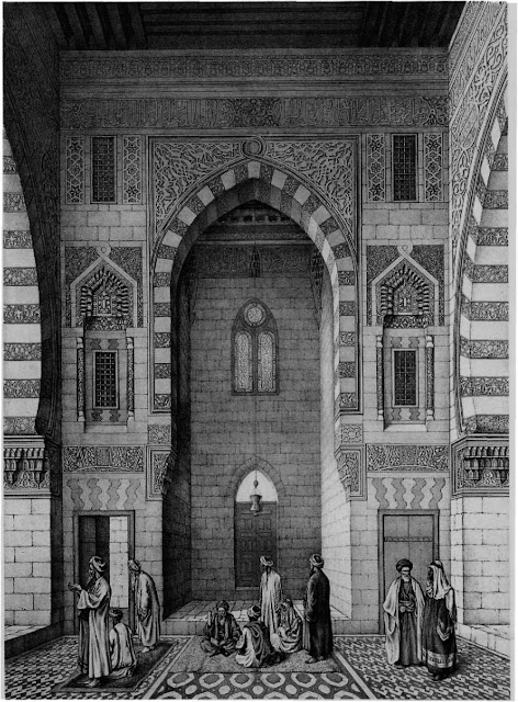 Mosque of Qaitbay, elevation of one side, 15th century. Symmetry is not found in the mosque layout but in the overall impact of its decoration. A lofty portal adorned with polychrome dadoes, columned recesses, and intricate stucco carving, frames the door that leads to the tomb. A continuous band of calligraphy integrates the designs.