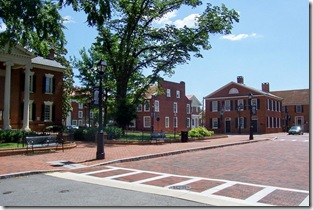 In front of the Albemarle Co. Courthouse with the former location of Swan's Tavern in background.