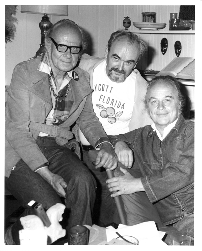 From left to right: Harry Hay, Jim Kepner, and John Burnside.Circa 1977.