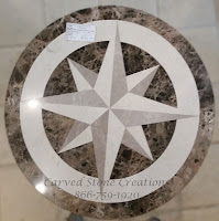 D24x3/4 Polished Marble Compass Medallion Dark Emperador Lt Emperador Jerusalem Bone.