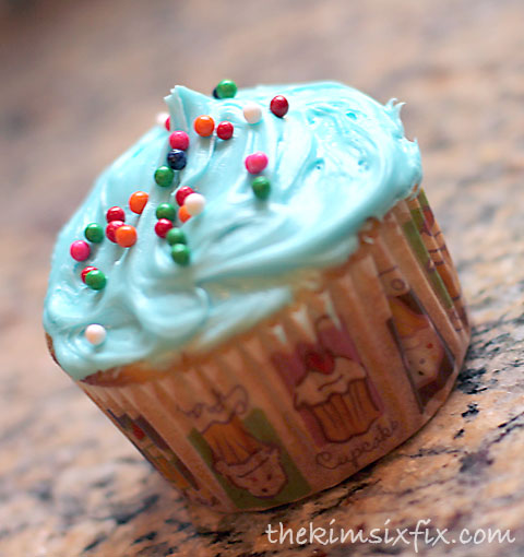 Blue sprinkle cupcake