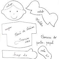 Molde da boneca do porta-papel (ver no Baú de Idéias).
