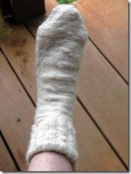 handspun sock before blocking