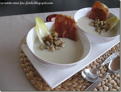 Supă cremă de andive - servim cu crutoane si jambon uscat