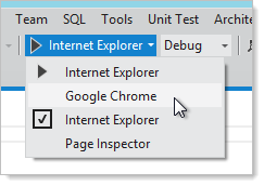 Running the solution with a selected browser