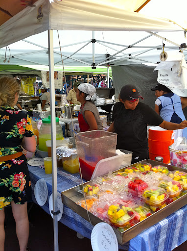 This vendor sells fresh squeezed juices: mango, watermelon, and papaya, just to name a few.