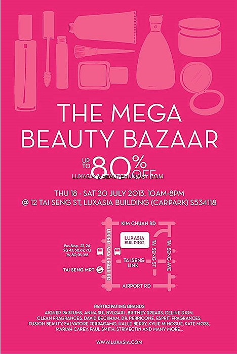 LUXASIA WAREHOUSE SALE 2013 SINGAPORE BEAUTY FRAGRANCE SKINCARE COSMETICS Burberry Guerlain Stila By Terry RMK BECCA Anna Sui MAKEUP MEGA BEAUTY BAZAAR  La Prairie, Lancaster, Philosophy, Jurlique Perfume body care hair care