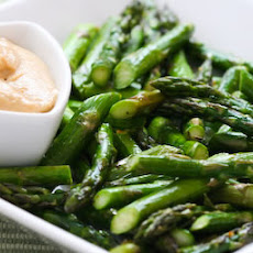 Roasted Asparagus with Creamy Tahini-Peanut Dipping Sauce