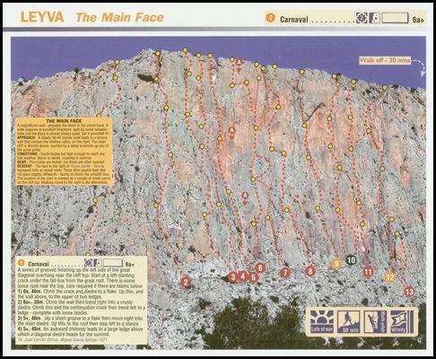 Leiva - Carnaval 150m 6b (6a A0 Oblig) (Rockfax)