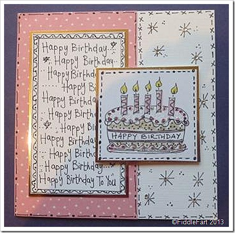 Doodled Birthday Cake Card.