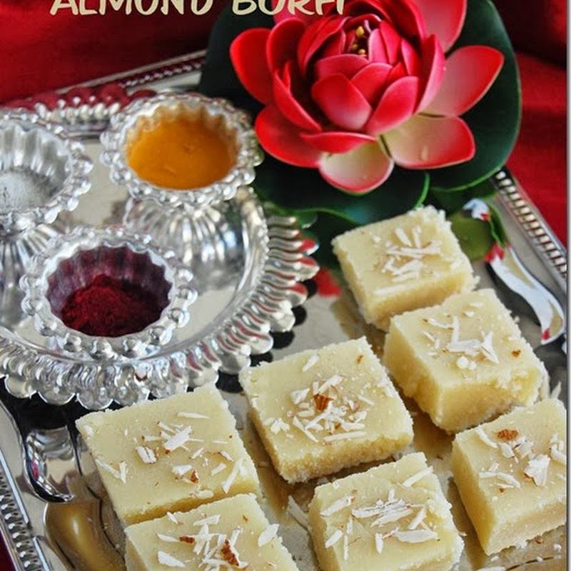 Almond burfi / almond cake recipe with video
