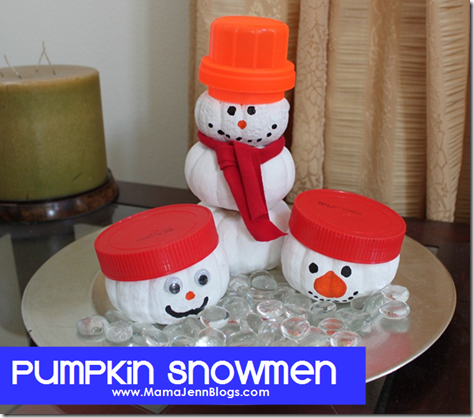 Pumpkin Snowmen (repurposing pumpkins)
