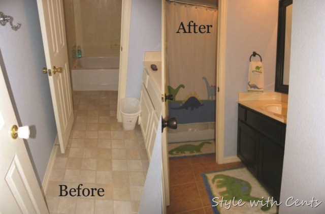 bathroom renovation using rustoleum oild rubbed bronze spray paint upstairs bath before after2