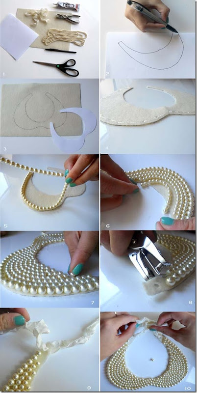 DIY Pearl Collar Necklace steps