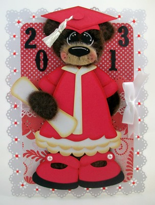 Bear Red Graduation Card