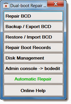 Dual Boot Repair Tool (MBR ve Boot hatalarını düzeltin)