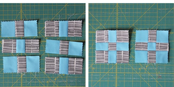 Charm Square Cross Road Block how-to, Cluck Cluck Sew