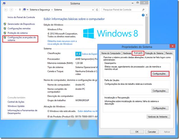 Clique em Configurações avançadas do sistema, no menu esquerdo da tela. Na guia Avançado, clique em Configurações, no menu Desempenho