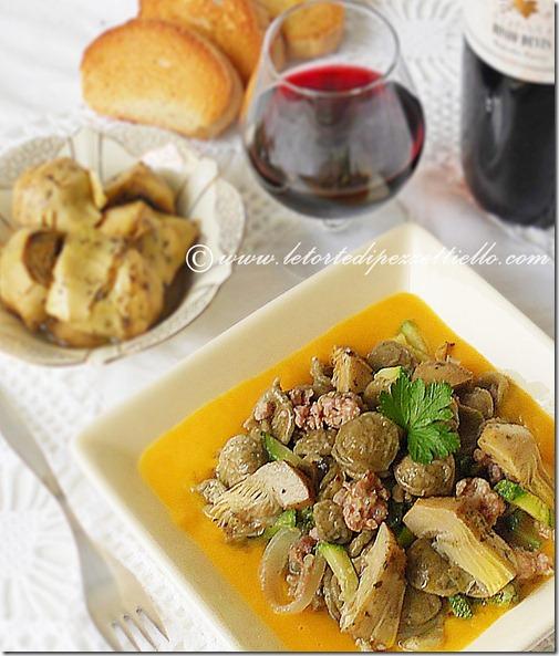 Orecchiette con carciofi, zucca, zucchine
