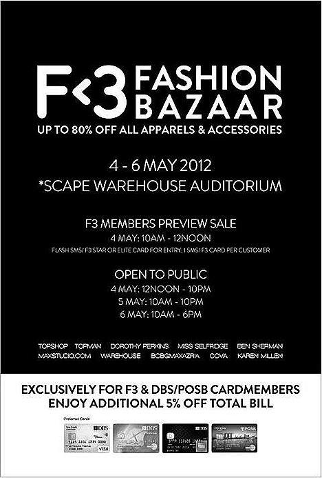 F3 Fashion Bazaar SALE Topshop Topman Karen Millen BCBGMAXAZRIA Warehouse Miss Selfridge Ben Sherman Maxstudio.Com Dorothy Perkins COVA