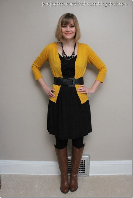 mustard cardigan, black dress, cognac boots