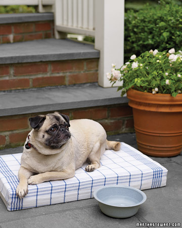 This is a dog bed made from striped kitchen towels. (Martha Stewart Living)