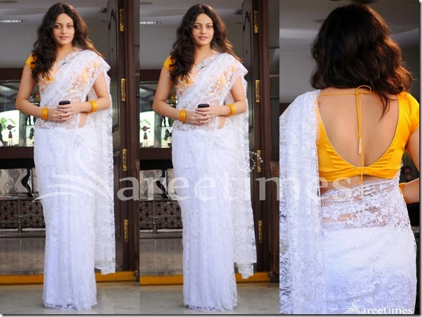 Sneha_Ullal_White_Embellished_Saree