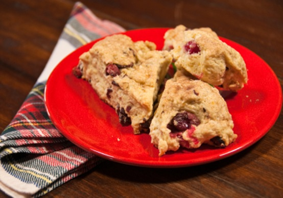 Plate of Freshly Baked Scones with Cranberries
