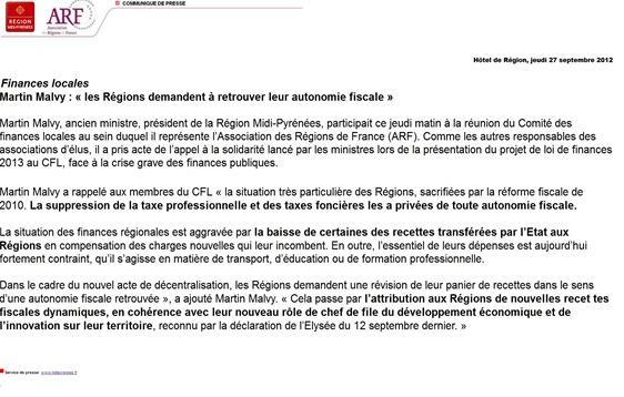 comunicat del CR de Migdia-Pirinus setembre 2012