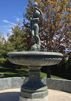 Dancing Nude Woman with Ribbon and Torch - Pedestal Fountain.  D