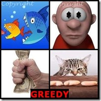 GREEDY- 4 Pics 1 Word Answers 3 Letters