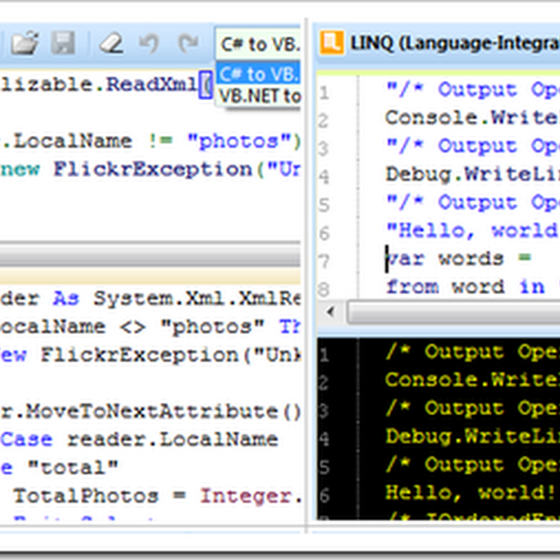 Convert .NET, your C#<>VB Converter, LINQ/RegEx expression tester, Encrypt/Decrypt, Base64 encoder and more...