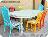 Dining room Table with mismatched chairs