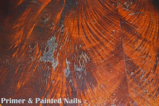 Kitchen Table Before Up Close 3 - Primer & Painted Nails