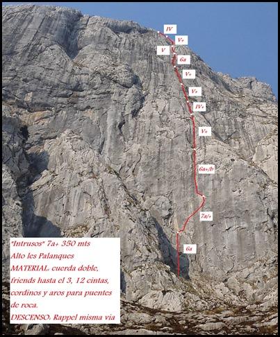 Croquis Alto Les Palanques - Intrusos 350m MD  7a  (6b A0 Oblig) (Victor Sanchez)
