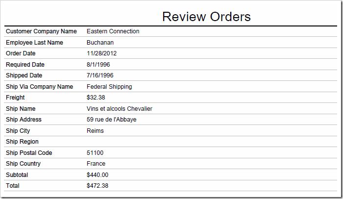 Default report displays a top-down list of fields and field values from the order record.