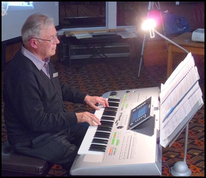 Our Guest Artist for the evening - Ron Stanwell. Ron is President of Tauranga Organ & Keyboard Society and came up especially to do this concert for the Club! Ron's 60+ years of experience as a professional musician both in NZ and UK showed. Ron played his Yamaha Tyros 3 magnificently - great song choice, effective use of styles, and wonderful sound arrangements, not to mention his wonderful prowess on the keys! Ron played 11 pieces for us of a mixed genre and then gave us an impromptu and rousing encore.