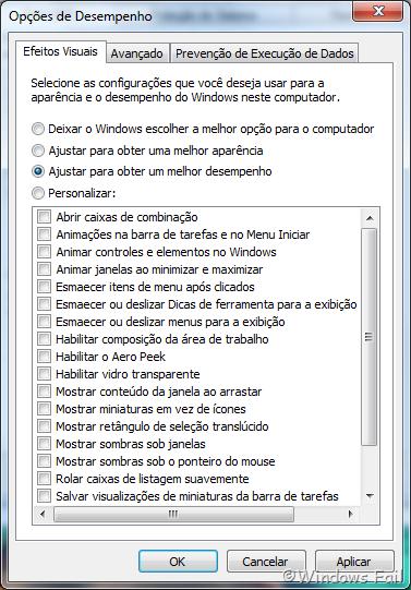 Marque a opção Ajustar para obter um melhor desempenho, depois clique em Aplicar e em Ok. O Windows 7 estará com a interface clássica