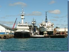 5075 Michigan - Sault Sainte Marie, MI -  St Marys River - Soo Locks Boat Tours - shoreline on Canadian side, the Reliance, the Avenger IV & the Yankcanuck