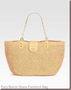 Tory Burch Straw Turnlock Tote Bag
