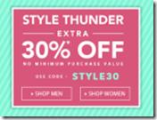 Jabong Style Thunder : Extra 30% OFF On 1 Lakh Products – No Minimum Purchase