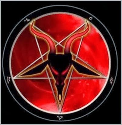 Pentagrama invertido - As duas pontas para cima, significam Lúcifer e seu reino; duas pontas para baixo, significa o homem como deus, no lugar de Deus. É símbolo da adoração a Satanás já estabelecida em várias partes do mu