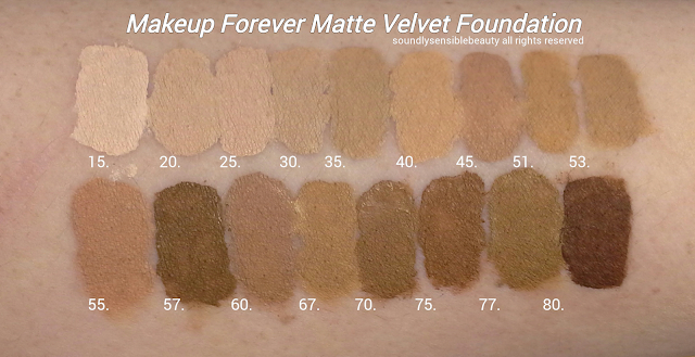 (M.U.F.E.) Makeup Forever Mat/Matte Velvet Foundation; Review & New Shades & Swatches; 15, 20, 25, 30, 35, 40, 45, 51, 53,  57,60, 67, 70, 75, 77, 80,