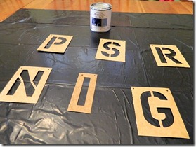 faux metal letters using stencils and paint