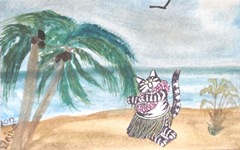 Kliban cat hula girl wc postcard