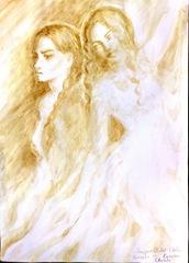 Enigma Otiliei - Otilia si Aurica pictura facuta cu cafea