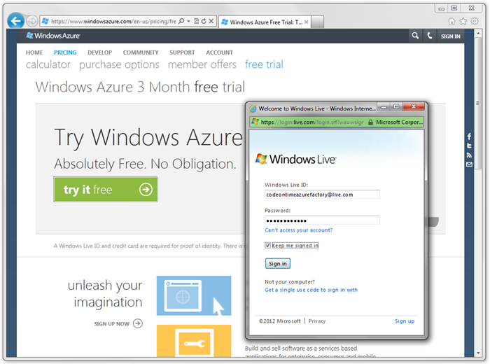 Log in to Windows Live for Windows Azure free trial