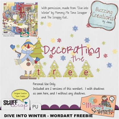 Mommy Me Time Scrapper - Dive into Winter - Wordart Freebie